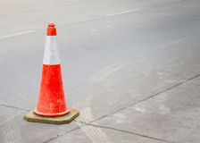 Traffic cone on the road. With space for text Royalty Free Stock Photography