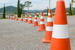 Traffic cone in row Royalty Free Stock Images