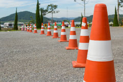 Traffic cone in row Stock Photo