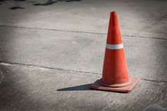 Traffic cone on street used warning sign Stock Photo