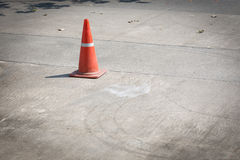 Traffic cone on street used warning sign Royalty Free Stock Photography