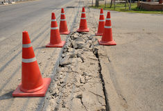 Traffic cone  used on concrete pavement . Stock Image