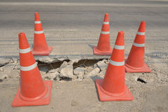Traffic cone  used on concrete pavement . Traffic cone  used on concrete pavement under construction Stock Images