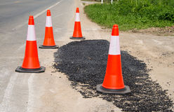 Traffic cone used on road side. Traffic cone used on road side  under construction Stock Images