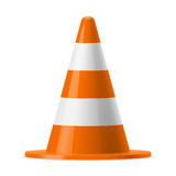 Traffic cone. White and orange road pylon. Sign used to provide safe traffic during road construction Stock Image