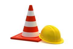 Traffic cone and worker construction helmet Royalty Free Stock Images