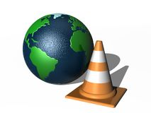 Traffic cone and world globe. 3d illustration of world globe with traffic cone in foreground; isolated on white Stock Photos