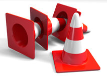 Traffic cones. Red on white Royalty Free Stock Image