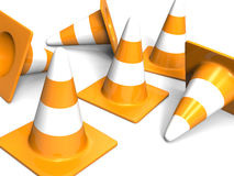Traffic cones. Red on white Stock Images