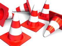 Traffic cones. Red on white Royalty Free Stock Photo