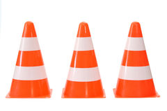 Traffic cones. Close-up of three traffic cones - isolated on white background Royalty Free Stock Image