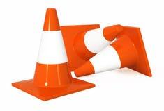 Traffic Cones. Bright orange 3d traffic cones, over white Stock Images