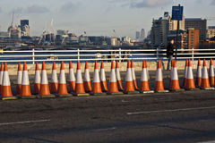 Traffic cones. Rows of traffic cones on a bridge in London Royalty Free Stock Images