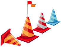 Traffic cones. Illustration of isolated a row of traffic cones on white Royalty Free Stock Photography