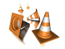 Traffic cones. 3D orange traffic cones illustration Stock Photo