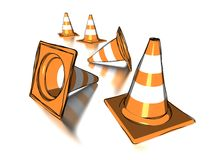 Traffic cones. A set of traffic cones isolated on white Stock Photo