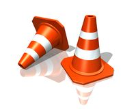 Traffic Cones. Over white reflective background (3D illustration Royalty Free Stock Photography