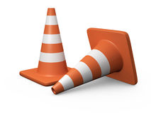 Traffic Cones. Two orange highway traffic cones with white stripes on white background Royalty Free Stock Photo