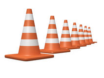 Traffic Cones. Arranged orange highway traffic cone with white stripes. High resolution on white background Stock Photo