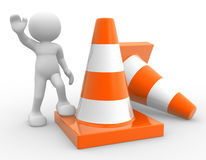 Traffic cones. 3d people - man, person and traffic cones Royalty Free Stock Photos