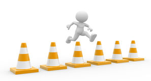 Traffic cones. 3d people - man, person jumping over traffic cones Stock Photography