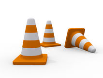 Traffic cones 3d illustration Royalty Free Stock Photography