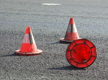 Traffic Cones. Three red traffic cone on the new asphalt Stock Images