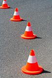 Traffic cones. On the asphalt road Royalty Free Stock Images