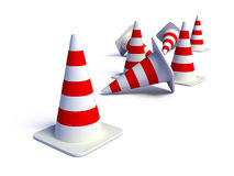 Traffic Cones. Isolated on white with smooth shadows Royalty Free Stock Images