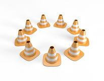 Traffic cones arranged in a circle and including a clipping path. Traffic cones arranged in a circle. High quality 3D illustration including a clipping path Royalty Free Stock Photos