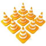 Traffic cones arranged in square form, side view. Traffic cones 3d isolated on white background, arranged in square form, side view Royalty Free Stock Images