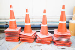 Traffic cones blocking a parking space prohibit all kinds. Traffic cones blocking off of the dock area's ban Stock Images