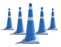 Traffic cones. Blue safety cones on a white background Stock Images