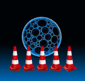 5 Traffic cones and bubble Royalty Free Stock Image