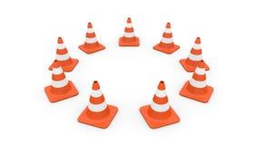 Traffic cones circle. Nine traffic cones arranged in a circle Stock Photos