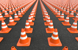 Traffic cones circle. Nine traffic cones arranged in a circle Royalty Free Stock Images