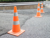 Traffic cones, construction, concrete road. Royalty Free Stock Photography