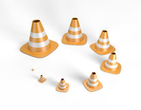 Traffic cones in different sizes including a clipping path. Traffic cones in decreasing / increasing sizes forming a circle. High quality 3D illustration Royalty Free Stock Photos