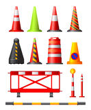 Traffic Cones, Drums & Posts vector illustration