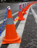 Traffic cones on a dual carriageway. In the city Royalty Free Stock Image