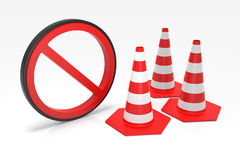 Traffic Cones with Forbidden Sign. Digitally Generated Image  on white background. 3D Rendering Stock Images