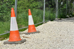 Traffic Cones And Gravel Road Royalty Free Stock Photos