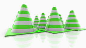 Traffic cones with green stripes on white stock video