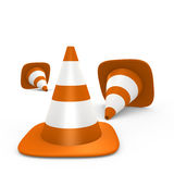 Traffic cones on the ground - 3d image Royalty Free Stock Photography