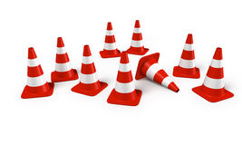 Traffic cones in a group Royalty Free Stock Photos