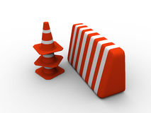 Traffic cones and guard Royalty Free Stock Image