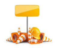 Traffic cones and hard hat. Road sign. isolated Stock Photos