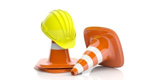 Traffic cones and hard hat on white background. 3d illustration. Construction concept. Traffic cones and hard hat isolated on white background. 3d illustration Stock Image