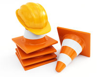 Traffic cones and hardhat Stock Photography