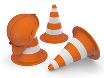 Traffic cones and hardhat 3D. Road sign. Icon  Stock Images
